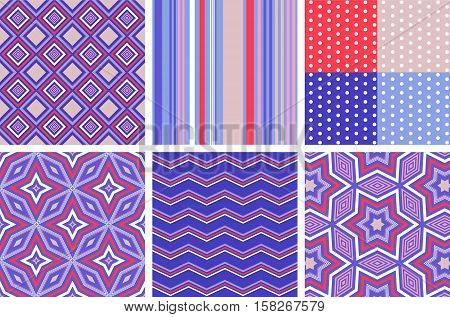 Variety of trendy seamless vector patterns in red, blue and white color scheme. Polka dot, zigzag, ornamental and stripped background.