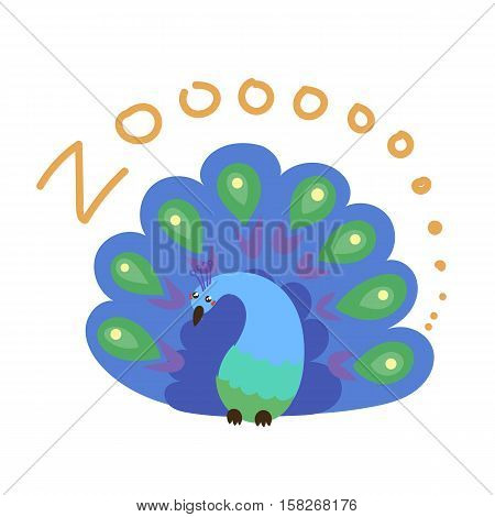 Set of Cute Vector Zoo Animal. Kawaii eyes and style. Doodle illustration. Peacock poster