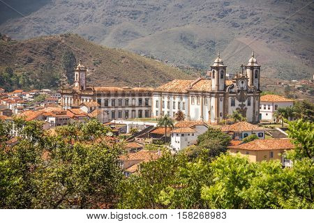 The church of Our Lady of Mount Carmel, Ouro Preto, Minas Gerais, Brazil, a former colonial mining town located in the Serra do Espinhaco mountains and designated a World Heritage Site by UNESCO