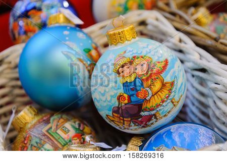 MOSCOW - NOVEMBER 22: Christmas balls on the Christmas fair in GUM on November 22 2016 in Moscow.