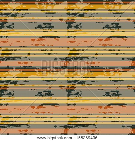 Colorful horizontal stripes. Grunge seamless pattern. Vector illustration.