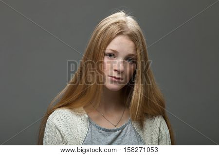 Human Face Expressions And Emotions. Portrait Of Young Adorable Redhead Woman With Pouting Lips In C