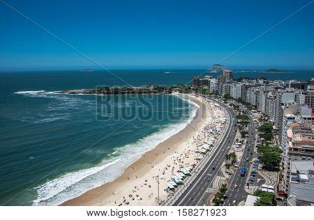Awesome, breathtaking aerial view of Copacabana Beach, Rio de Janeiro, Brazil