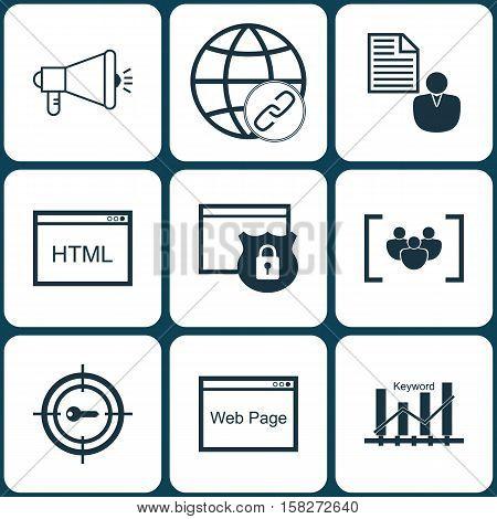 Set Of Seo Icons On Questionnaire, Keyword Marketing And Media Campaign Topics. Editable Vector Illu