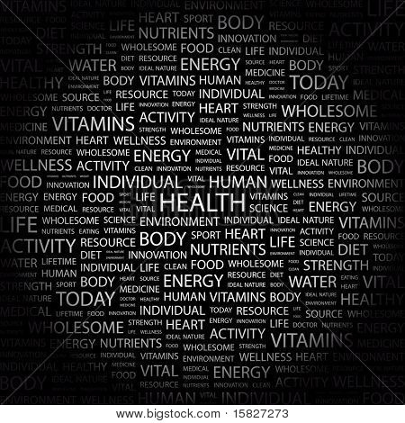 HEALTH. Word collage on black background. Vector illustration. Illustration with different association terms.