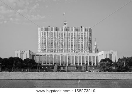 Russian Government House On River Bank Black And White