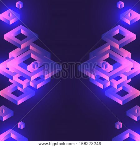Abstract Background With Isometric Drawings.