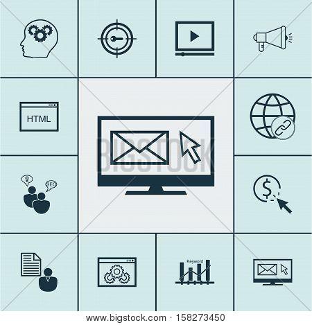 Set Of Seo Icons On Keyword Marketing, Keyword Optimisation And Seo Brainstorm Topics. Editable Vect