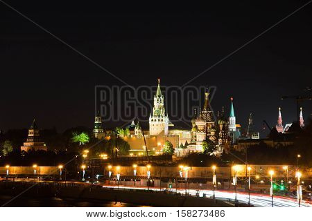 View Of The Towers Of Kremlin At Night