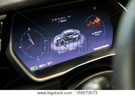 MOSCOW RUSSIA - NOV 23 2016: Interior of cabin of the Tesla Model S car.