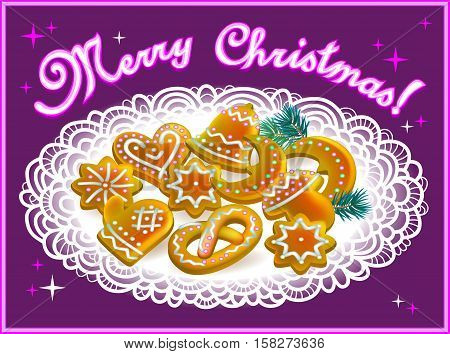 Greeting card with Baltic Christmas cookies, vector cartoon image.