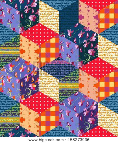 Bright multicolor patchwork pattern. Seamless vector illustration of quilt - 3.