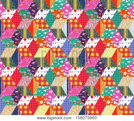 Bright multicolor patchwork pattern. Seamless vector illustration of quilt - 1.