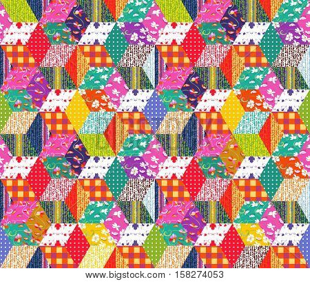Colorful festive background. Seamless patchwork pattern. Quilt. Print for fabric.