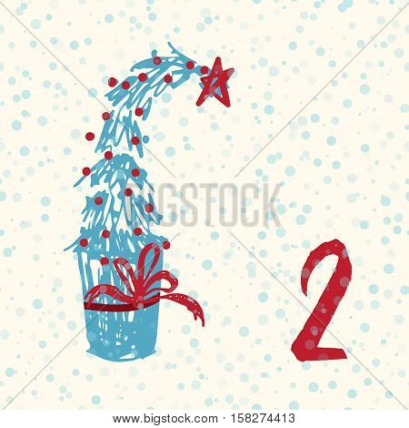 Page Advent Calendar 25 days of Christmas with space for text. Template vector illustration