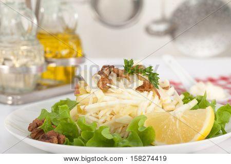 Home made Waldorf Salad with celery, apples, walnuts, lemon and mayonnaise