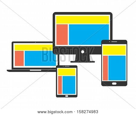 computing concept system connection mobile digital - flat vector stock