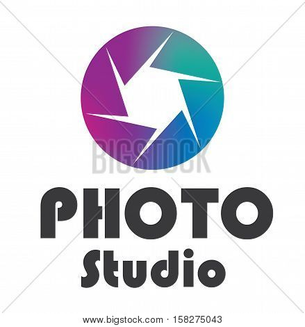 Logo photo studio design - photo lens text studio vector stock