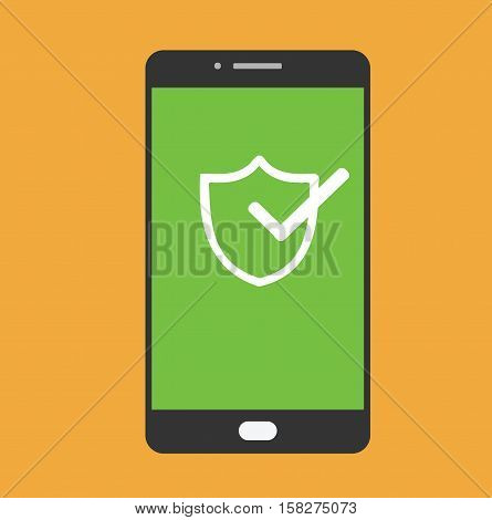 Mobile phone security shield protection data flat vector illustration stock