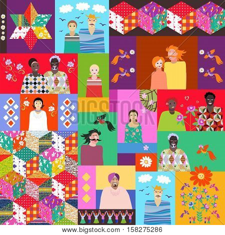 Multicolor quilt with cute cartoon people of different ages and races, flowers, birds and patchwork pattern.
