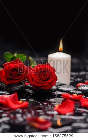 Still life with red rose ,petals with candle and therapy stones