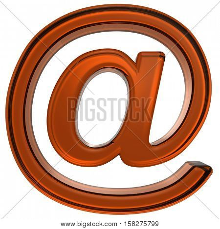 E-mail sign from orange glass alphabet set, isolated on white. 3D illustration.
