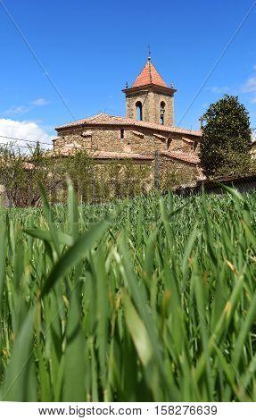 Romanesque church of Sant Pere de Falgars (XI century) of Els Hostalets Garrotxa Girona province Catalonia Spain