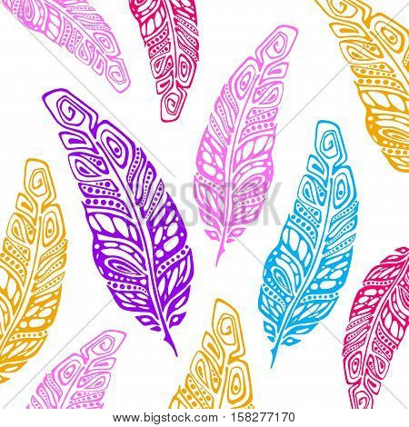 Boho feather hand drawn effect vector style illustration. Vector illustration of boho feather. Boho indian feathers. Feathers for totoos, posters, invitations
