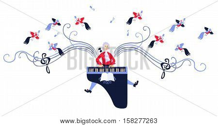 Mozart Winged With Music. Cute Cartoon Vector Illustration.