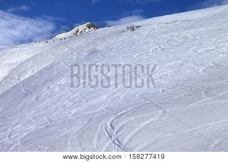 Off-piste Slope With Track From Ski And Snowboard In Sunny Morning