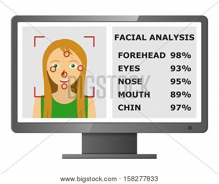 Facial recognition. Face scanning authentication. Biometric identification. Face scanning technology. Vector illustration