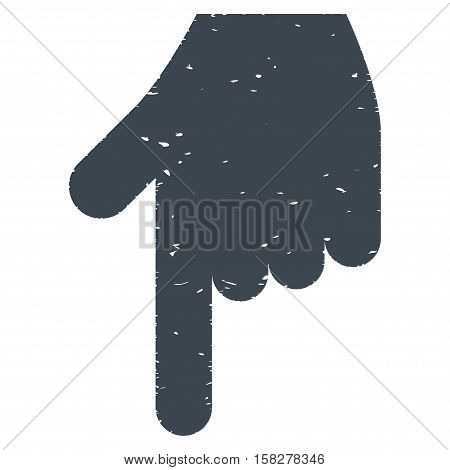Hand Pointer Down grainy textured icon for overlay watermark stamps. Flat symbol with dirty texture. Dotted vector smooth blue ink rubber seal stamp with grunge design on a white background.