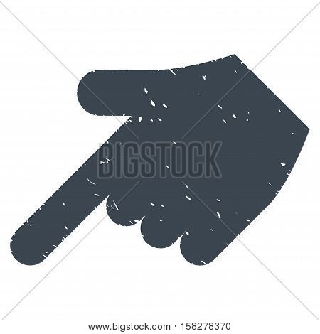 Hand Pointer Left Down grainy textured icon for overlay watermark stamps. Flat symbol with dirty texture. Dotted vector smooth blue ink rubber seal stamp with grunge design on a white background.