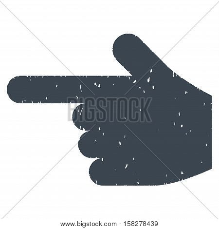 Hand Pointer Left grainy textured icon for overlay watermark stamps. Flat symbol with unclean texture. Dotted vector smooth blue ink rubber seal stamp with grunge design on a white background.