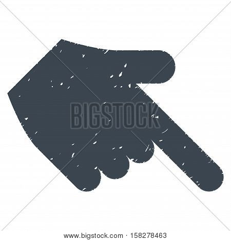 Hand Pointer Right Down grainy textured icon for overlay watermark stamps. Flat symbol with dirty texture. Dotted vector smooth blue ink rubber seal stamp with grunge design on a white background.