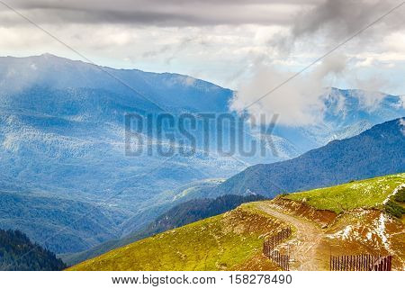 Rose Peak Ski Resort Caucasus Views  Mountains Krasnaya Polyana Sochi Russia