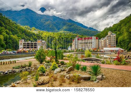 Rosa Khutor  Caucasus  Resort Beach Recreation Area Krasnaya Polyana Sochi Russia