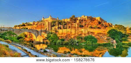 Panorama of Toledo with the Alcantara Bridge - Spain