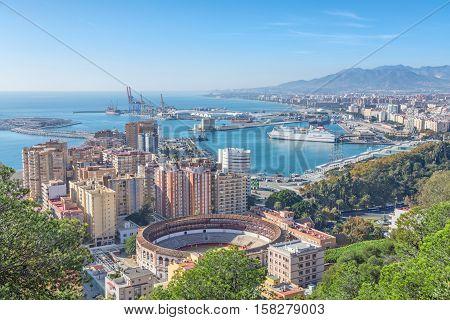 Bullring arena and port in Malaga Andalusia Spain