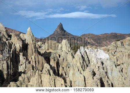 Moon Valley - Valle De La Luna - and Muela Del Diablo mountain peak, La Paz, Bolivia, South America