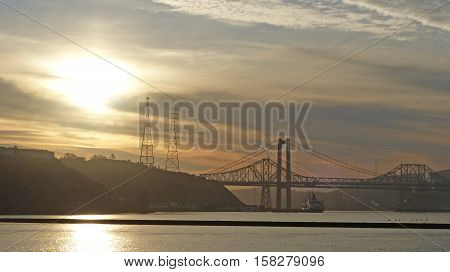 The Oakland Bay Bridge in the Bay of San Francisco in the early morning