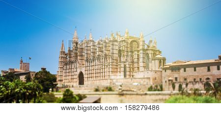 Beautiful Gothic Roman Catholic Cathedral of Santa Maria of Palma more commonly referred to as La Seu (Balraric Islands - Spain). Tilt-shift lens used to accent the building and to emphasize the attention on it.