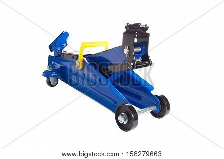Front view Blue car Floor Jack on white background.