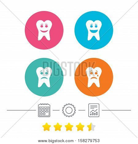 Tooth smile face icons. Happy, sad, cry signs. Happy smiley chat symbol. Sadness depression and crying signs. Calendar, cogwheel and report linear icons. Star vote ranking. Vector
