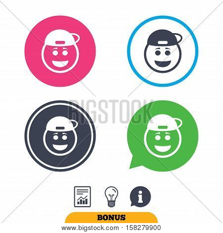 Smile rapper face sign icon. Happy smiley with hairstyle chat symbol. Report document, information sign and light bulb icons. Vector