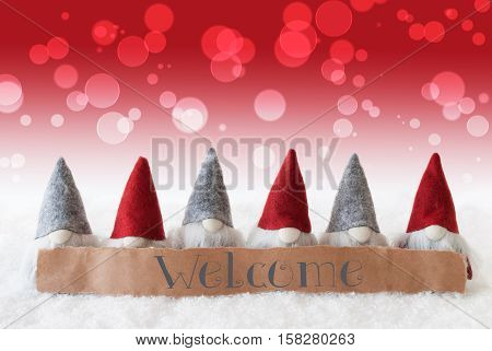 Label With English Welcome. Christmas Greeting Card With Red Gnomes. Bokeh And Christmassy Background With Snow.