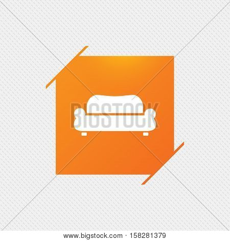 Comfortable sofa sign icon. Modern couch furniture symbol. Orange square label on pattern. Vector