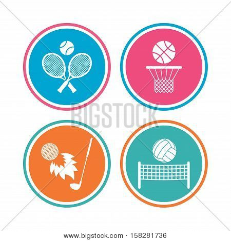 Tennis rackets with ball. Basketball basket. Volleyball net with ball. Golf fireball sign. Sport icons. Colored circle buttons. Vector