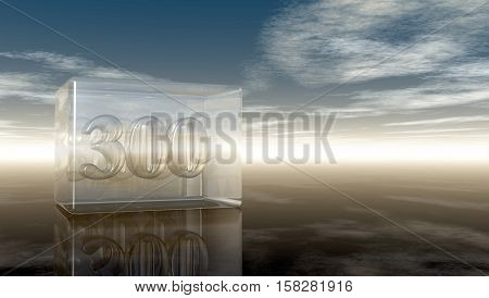 number three hundred in glass cube under cloudy sky - 3d rendering