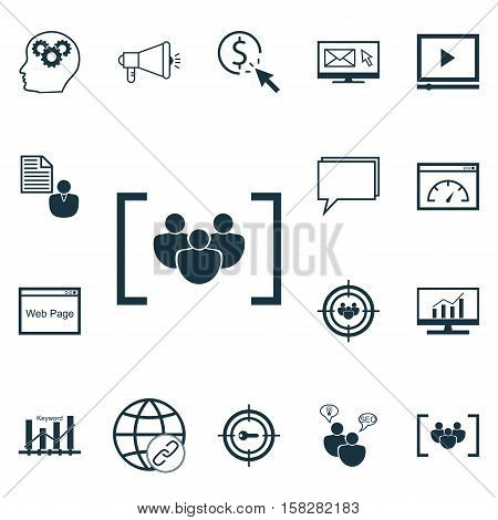 Set Of Advertising Icons On Report, Video Player And Connectivity Topics. Editable Vector Illustrati